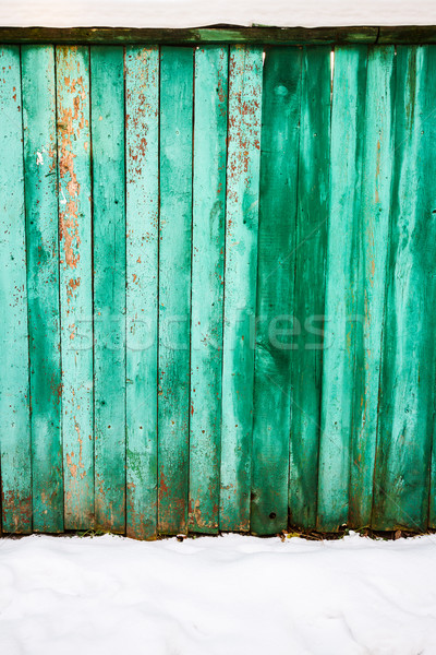 Pelling green paint on wood fence Stock photo © Taigi