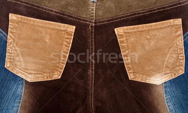 Corduroy and jeans fabric textures Stock photo © Taigi