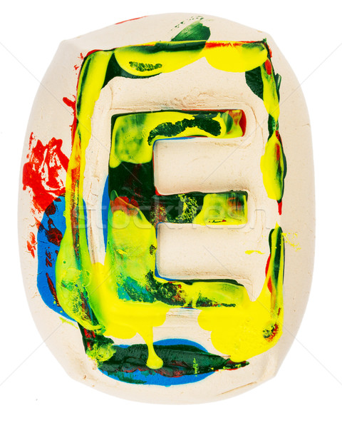 Colorful handmade of white clay letter E Stock photo © Taigi