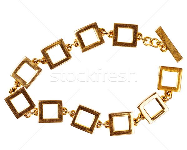 Eski altın zincir bilezik büyük kare Stok fotoğraf © Taigi