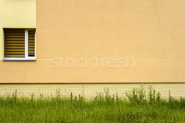 Stock fotó: Modern · citromsárga · utca · fal · ablak · zöld · fű