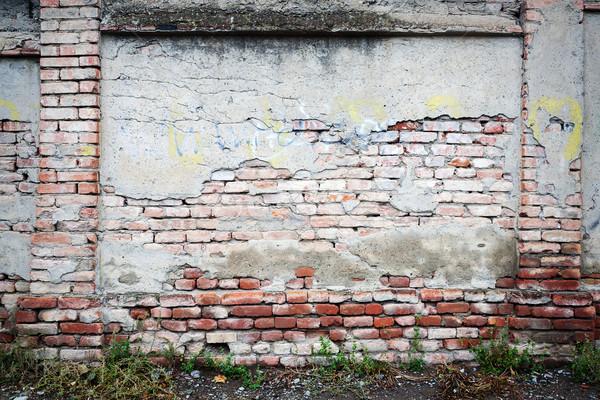 старые кирпичная стена треснувший зеленая трава трава стены Сток-фото © Taigi