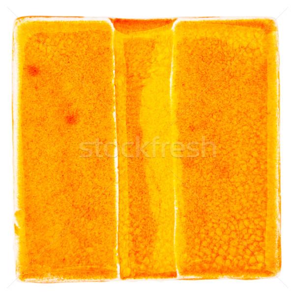 Hecho a mano cerámica azulejo naranja aislado blanco Foto stock © Taigi