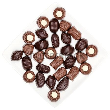 ストックフォト: チョコレート · 孤立した · 白 · 背景 · デザート