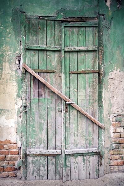 старые двери зеленый заброшенный дома здании Сток-фото © Taigi