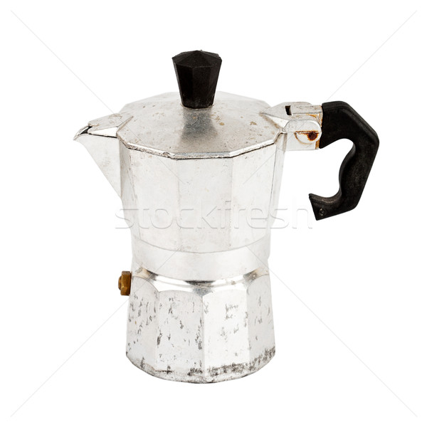 Oude aluminium koffiezetapparaat geïsoleerd witte koffie Stockfoto © Taigi