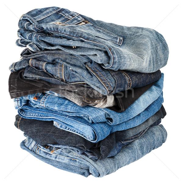Stockfoto: Jeans · geïsoleerd · witte · groep · weefsel