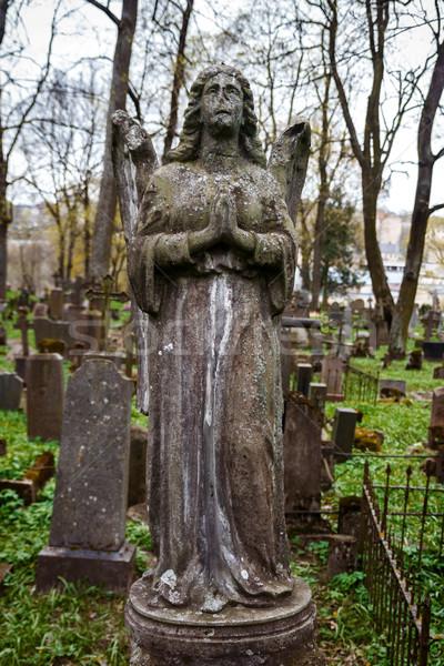 Szobor angyal öreg Vilnius temető arc Stock fotó © Taigi