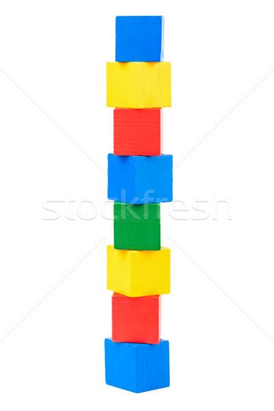 Fa játék kockák izolált fehér építkezés piros Stock fotó © Taigi