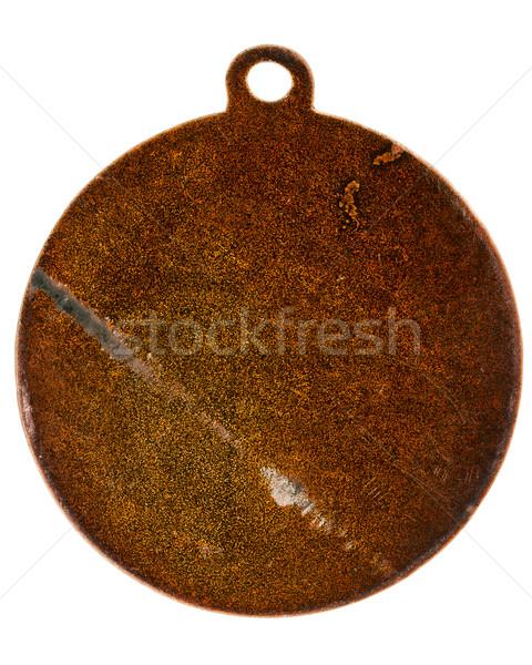 Vecchio bronzo medaglia indietro isolato bianco Foto d'archivio © Taigi