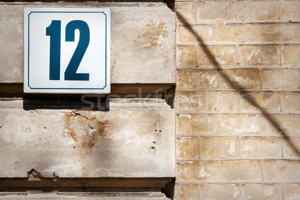 Szám 12 fal mintázott beton ház Stock fotó © Taigi