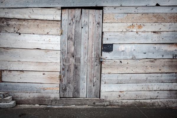 Stock photo: Old wooden plank door