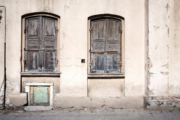 Old wall with windows Stock photo © Taigi