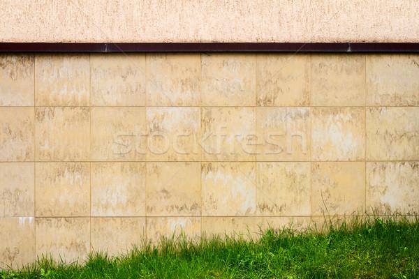 Absztrakt városi barna csempe fal zöld fű Stock fotó © Taigi