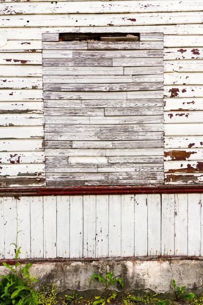 Fal ablak hely viharvert fából készült palánk Stock fotó © Taigi