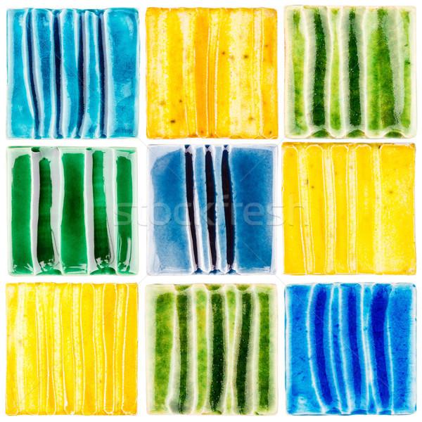 Collection of handmade glazed ceramic tiles Stock photo © Taigi