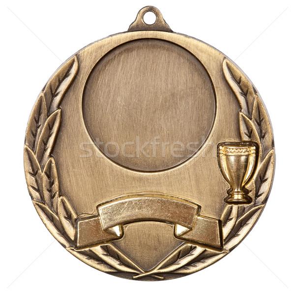 Médaille d'or isolé blanche sport succès ruban Photo stock © Taigi