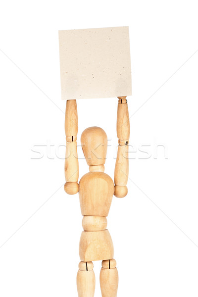 Wooden dummy holding paper Stock photo © Taigi