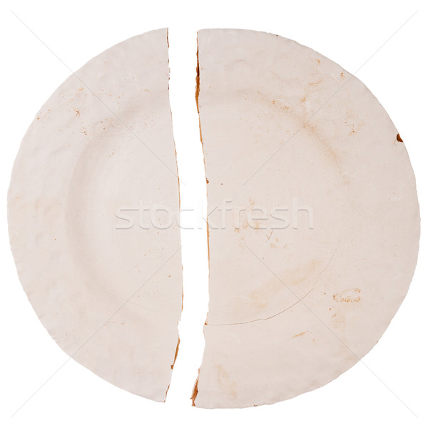 Fissuré plaque isolé blanche texture objet Photo stock © Taigi