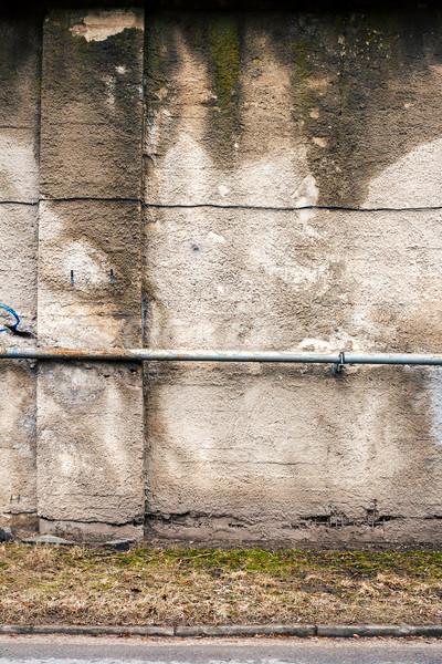 Konkrete Wand alten Gas Rohr Spalten Stock foto © Taigi