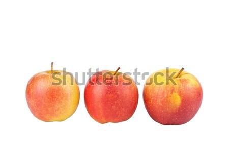 Foto stock: Três · maçãs · isolado · branco · maçã · vermelho