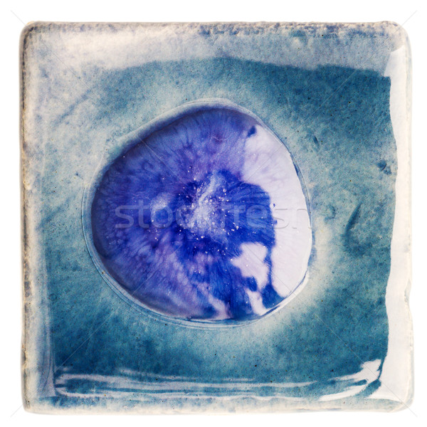 Handgemaakt keramische tegel Blauw bubble midden Stockfoto © Taigi