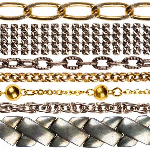 Szett lánc különböző ékszerek izolált fehér Stock fotó © Taigi