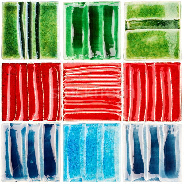 Collection of handmade glazed ceramic tiles Stock photo © Taigi