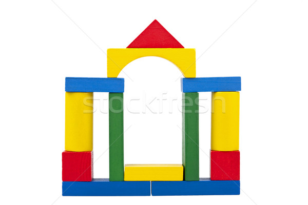 Castle made from wooden toy blocks Stock photo © Taigi