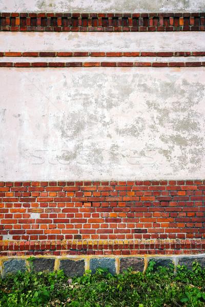 Rood witte muur steen kelder gebouw Stockfoto © Taigi