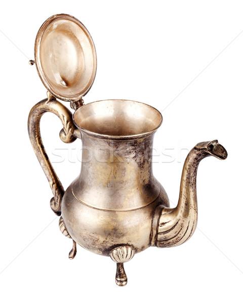 öreg ezüst teáskanna antik nyitva izolált Stock fotó © Taigi