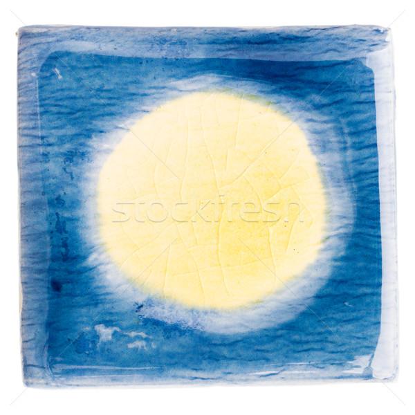 Handgemaakt keramische tegel Blauw Geel Stockfoto © Taigi