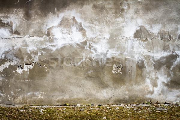 Stockfoto: Oude · gebarsten · gips · muur · grijs · verlaten