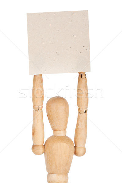 Wooden dummy holding paper Stock photo © Taigi