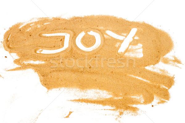 Palabra alegría escrito amarillo arena Foto stock © Taigi