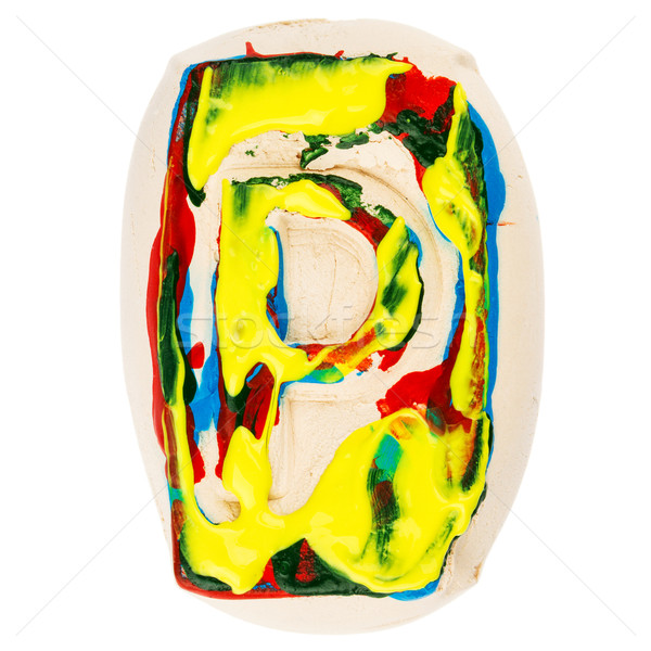Colorful handmade of white clay letter P  Stock photo © Taigi