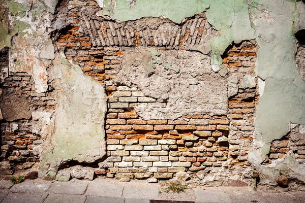 Stok fotoğraf: Eski · yeşil · çimento · tuğla · duvar · doku · detay