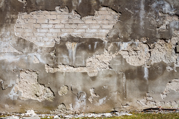 Old cracked plaster and brick wall Stock photo © Taigi