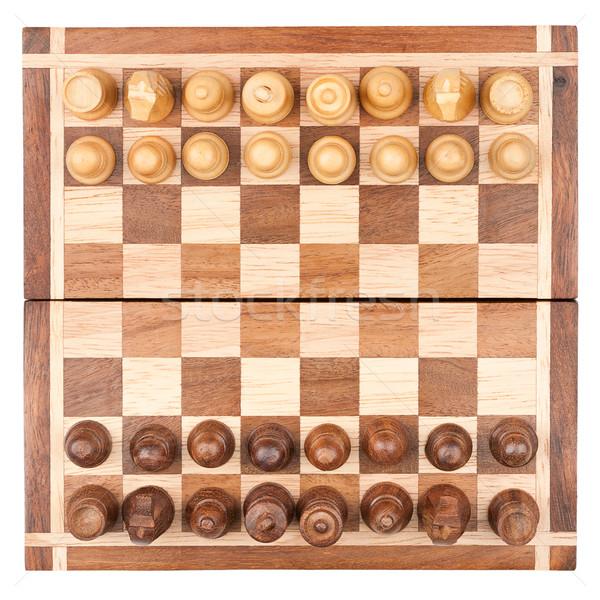 Satranç tahtası tüm parçalar yalıtılmış beyaz üst Stok fotoğraf © Taigi
