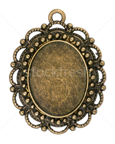 ヴィンテージ 青銅 孤立した 白 金属 プレート ストックフォト © Taigi