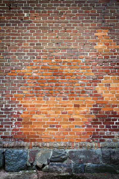 Rojo pared de ladrillo piedra sótano edificio diseno Foto stock © Taigi