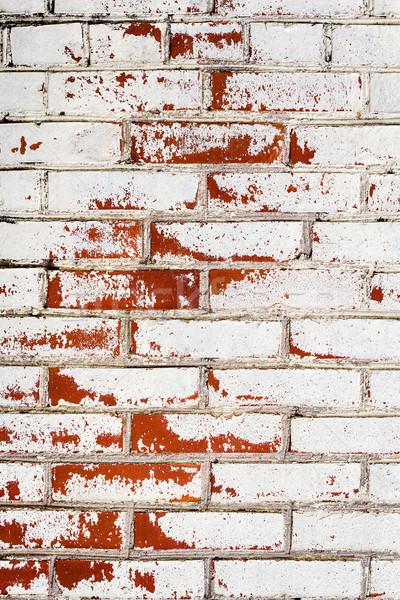Téglafal textúra koszos fehér ház épület Stock fotó © Taigi