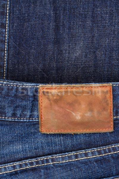 Etiqueta cuero jeans fondo marco Foto stock © Taigi