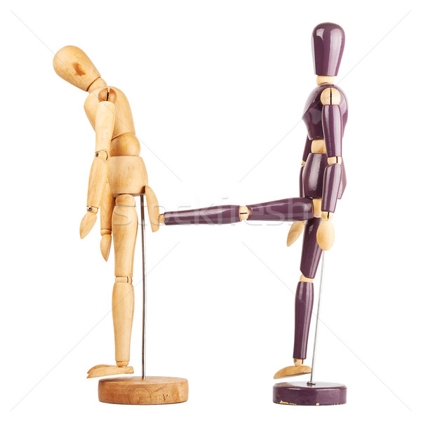 One wooden dummy kicking another Stock photo © Taigi