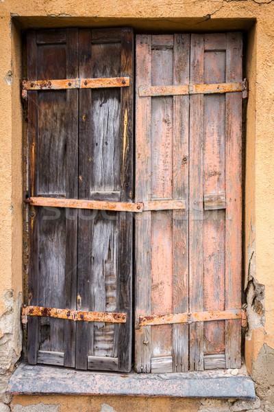 Felfelé ablak elhagyatott ház épület fa Stock fotó © Taigi
