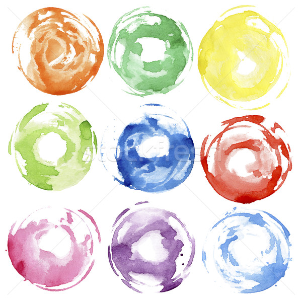 Couleur pour aquarelle main peint cercle forme Photo stock © Taigi