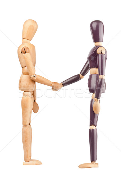 Wooden dummies shaking hands Stock photo © Taigi