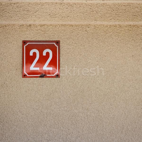 Numer 22 ściany konkretnych domu Zdjęcia stock © Taigi