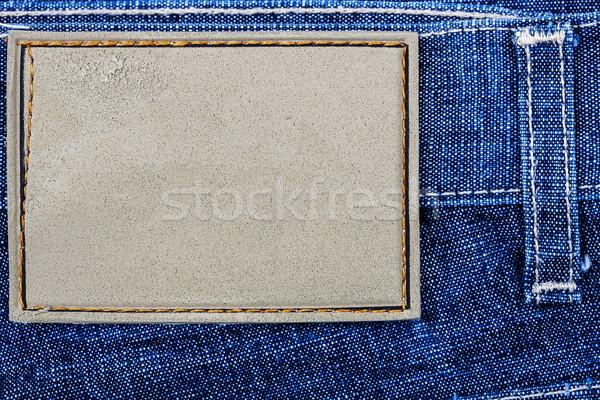Címke farmernadrág mesterséges bőr farmer háttér Stock fotó © Taigi