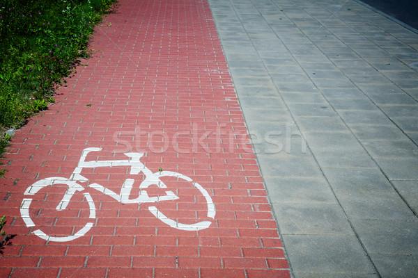 Bicycle road sign Stock photo © Taigi